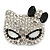 Pave Set Swarovski Crystal Cat Mask Brooch In Rhodium Plating - 5cm Width - view 1