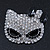 Pave Set Swarovski Crystal Cat Mask Brooch In Rhodium Plating - 5cm Width - view 2