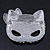 Pave Set Swarovski Crystal Cat Mask Brooch In Rhodium Plating - 5cm Width - view 3