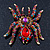Large Multicoloured Swarovski Crystal Spider Brooch In Gold Plating - 55mm Length - view 2