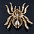 Large Multicoloured Swarovski Crystal Spider Brooch In Gold Plating - 55mm Length - view 3