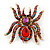 Large Multicoloured Swarovski Crystal Spider Brooch In Gold Plating - 55mm Length - view 1