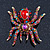Large Multicoloured Swarovski Crystal Spider Brooch In Gold Plating - 55mm Length - view 4
