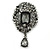 Victorian Style Hematite Crystal Charm Brooch In Gun Metal - 85mm Length