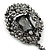 Victorian Style Hematite Crystal Charm Brooch In Gun Metal - 85mm Length - view 4