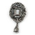 Victorian Style Hematite Crystal Charm Brooch In Gun Metal - 85mm Length - view 5