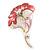 Pink/Coral Enamel Diamante 'Flower' Brooch In Gold Plating - 55mm Length