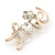 Gold Plated Crystal 'Love' Brooch - 45mm Length - view 7