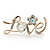 Gold Plated Crystal 'Love' Brooch - 45mm Length - view 2