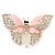 Dazzling Diamante /Pale Pink Enamel Butterfly Brooch In Gold Plaiting - 70mm Width