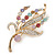 Multicoloured Swarovski Crystal 'Floral' Brooch In Polished Gold Plating - 68mm Length