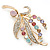 Multicoloured Swarovski Crystal 'Floral' Brooch In Polished Gold Plating - 68mm Length - view 3