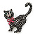 Jet Black Swarovski Crystal 'Cat With Pink Bow' Brooch In Rhodium Plating - 45mm Width - view 4