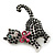 Jet Black Swarovski Crystal 'Cat With Pink Bow' Brooch In Rhodium Plating - 45mm Width - view 2