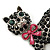 Jet Black Swarovski Crystal 'Cat With Pink Bow' Brooch In Rhodium Plating - 45mm Width - view 3