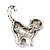 Jet Black Swarovski Crystal 'Cat With Pink Bow' Brooch In Rhodium Plating - 45mm Width - view 5