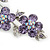 Light Purple Swarovski Crystal Floral Brooch In Rhodium Plating - 55mm Length - view 4