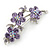 Light Purple Swarovski Crystal Floral Brooch In Rhodium Plating - 55mm Length - view 3