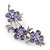 Light Purple Swarovski Crystal Floral Brooch In Rhodium Plating - 55mm Length - view 5
