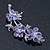 Light Purple Swarovski Crystal Floral Brooch In Rhodium Plating - 55mm Length - view 2
