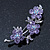 Light Purple Swarovski Crystal Floral Brooch In Rhodium Plating - 55mm Length - view 6