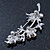 Light Purple Swarovski Crystal Floral Brooch In Rhodium Plating - 55mm Length - view 7