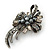 Vintage Inspired Hematite Crystal Fancy 'Ribbon' Brooch In Gun Metal - 45mm Length - view 10