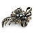 Vintage Inspired Hematite Crystal Fancy 'Ribbon' Brooch In Gun Metal - 45mm Length - view 8