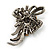 Vintage Inspired Hematite Crystal Fancy 'Ribbon' Brooch In Gun Metal - 45mm Length - view 11