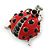 Funky Red Enamel Black Crystal 'Ladybug' Brooch In Silver Plating - 40mm Length - view 2