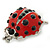 Funky Red Enamel Black Crystal 'Ladybug' Brooch In Silver Plating - 40mm Length - view 3