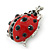Funky Red Enamel Black Crystal 'Ladybug' Brooch In Silver Plating - 40mm Length - view 5