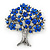 Sapphire Blue Coloured Crystal 'Tree Of Life' Brooch In Gun Metal Finish - 52mm Length