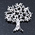 Clear Crystal 'Tree Of Life' Brooch In Rhodium Plating - 52mm Length - view 3