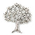 Clear Crystal 'Tree Of Life' Brooch In Rhodium Plating - 52mm Length - view 4