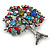 Multicoloured 'Tree Of Life' Brooch In Gun Metal Finish - 52mm Length - view 4