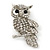 Rhodium Plated Crystal Owl Brooch - 60mm Length - view 1