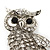 Rhodium Plated Crystal Owl Brooch - 60mm Length - view 3