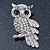 Rhodium Plated Crystal Owl Brooch - 60mm Length - view 2