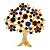 Multicoloured Crystal 'Tree Of Life' Brooch In Gun Metal Finish - 52mm Length