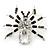 Clear/ Grey Crystal, Black Enamel 'Spider' Brooch In Rhodium Plating - 40mm Width