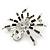 Clear/ Grey Crystal, Black Enamel 'Spider' Brooch In Rhodium Plating - 40mm Width - view 6