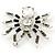 Clear/ Grey Crystal, Black Enamel 'Spider' Brooch In Rhodium Plating - 40mm Width - view 5