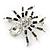 Clear/ Grey Crystal, Black Enamel 'Spider' Brooch In Rhodium Plating - 40mm Width - view 4