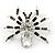 Clear/ Grey Crystal, Black Enamel 'Spider' Brooch In Rhodium Plating - 40mm Width - view 7