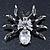 Clear/ Grey Crystal, Black Enamel 'Spider' Brooch In Rhodium Plating - 40mm Width - view 2