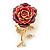 Red/Violet Enamel Crystal 'Rose' Brooch In Gold Plating - 60mm Length