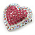 Silver Tone Dazzling Diamante Heart Brooch (Pink/ AB) - 40mm Length - view 2