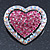 Silver Tone Dazzling Diamante Heart Brooch (Pink/ AB) - 40mm Length - view 3
