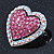 Silver Tone Dazzling Diamante Heart Brooch (Pink/ AB) - 40mm Length - view 4